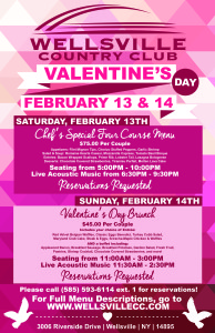 Valentines Day, Wellsville, NY, Valentines Day Brunch, Valentines Day Dinner
